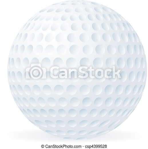 Golf ball isolated on white  - csp4399528