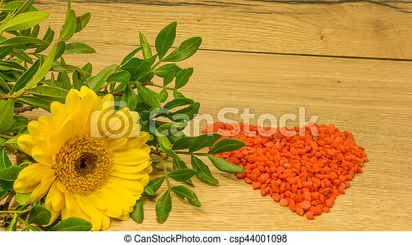 Bouquet with yellow flowers and a red heart