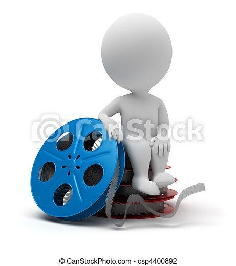 3d small people - film reel - csp4400892