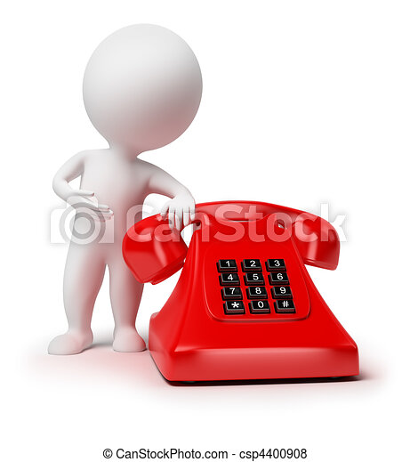 Stock Illustration of 3d small people - telephone - 3d small ...