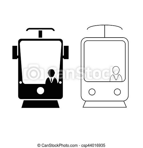tramway set in black and white color with man icon illustration - csp44016935