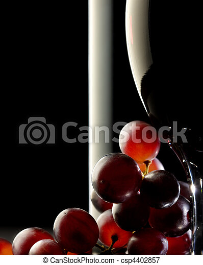 Red wine with grapes - csp4402857