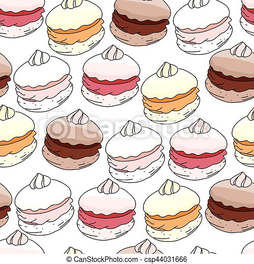 Seamless pattern with sweet merengue. Endless texture. White background, pink,beige,yellow,soft colors. - csp44031666