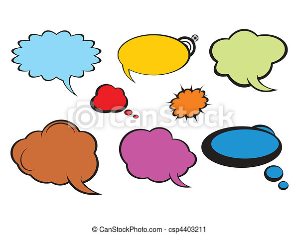 Vector Clip Art of abstract colorful comic callout shapes vector ...