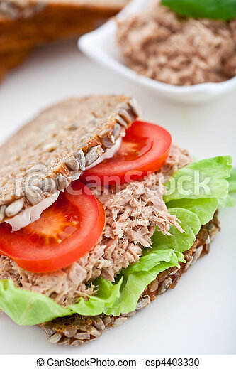 Tuna fish sandwich with tomatos and lettuce - csp4403330