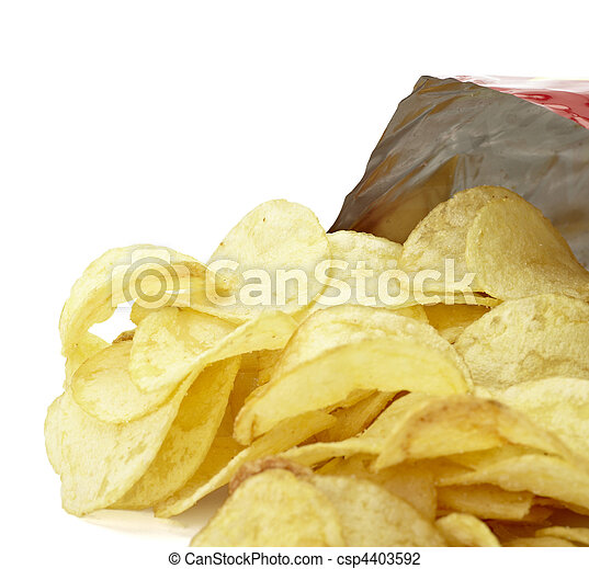 potato chips junk salted food - csp4403592