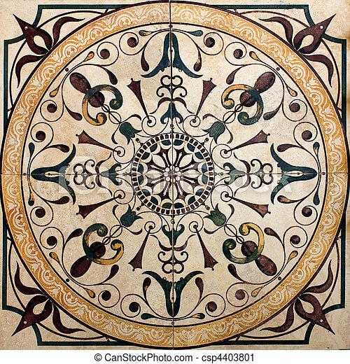 old Victorian tile  - csp4403801