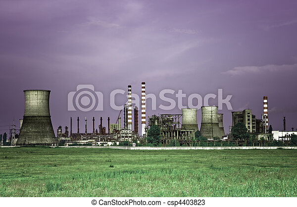 Toxic industry - industrial oil refinery - csp4403823