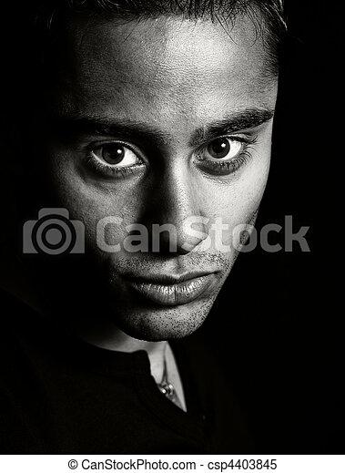 Dark portrait - face of one expressive man - csp4403845