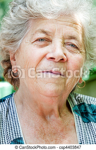 Face of charming senior old woman - csp4403847