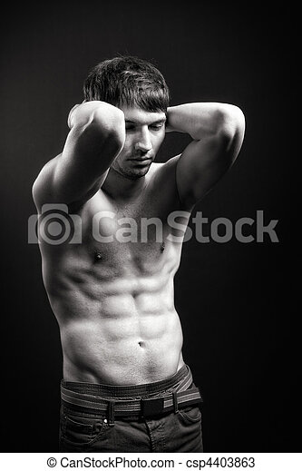 Fit man with sexy abdomen muscles