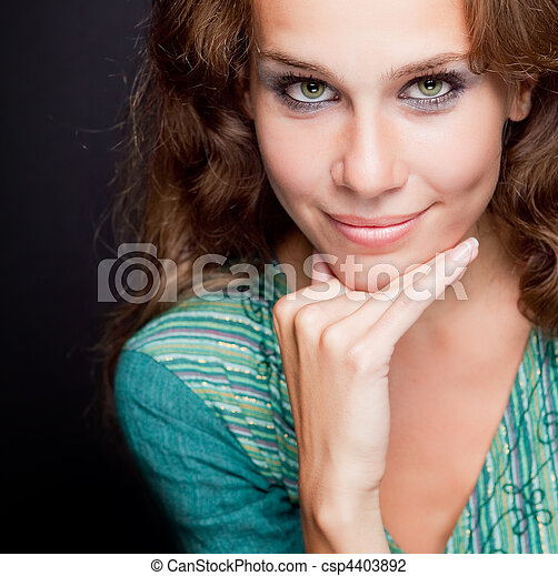 One beautiful elegant stylish young woman - csp4403892