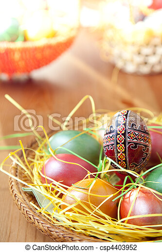 Easter painted eggs on traditional seasonal table - csp4403952
