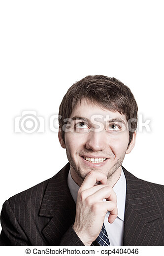 Think concept - pensive and creative businessman - csp4404046