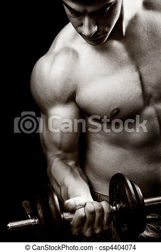 Gym and fitness concept - bodybuilder and dumbbell - csp4404074