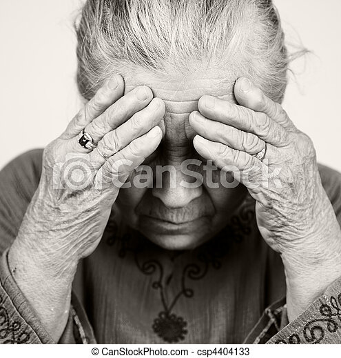 Sad old senior woman with health problems - csp4404133
