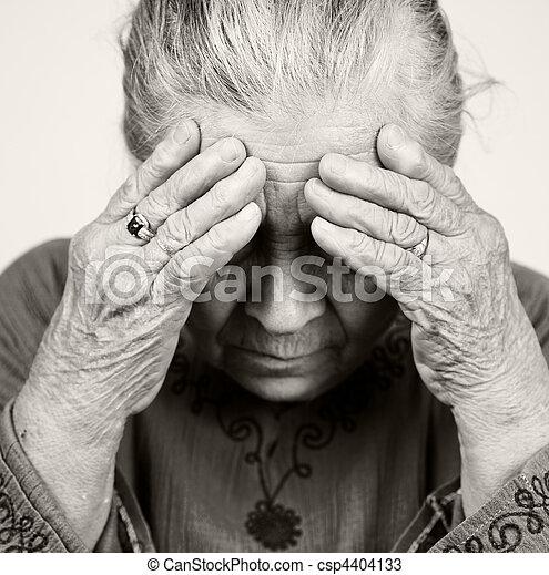 Sad old senior woman with health problems - csp4404133
