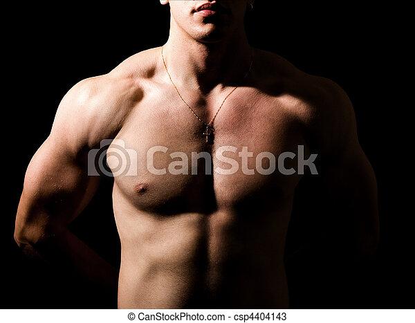 cuerpo, shirtless, muscular, oscuridad, sexy, hombre - csp4404143