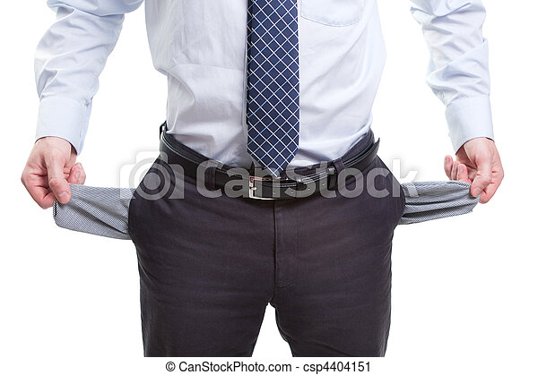Broke and poor business man with empty pockets - csp4404151