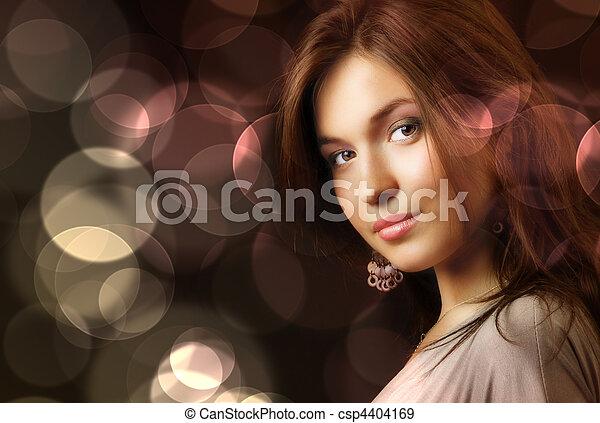 Beautiful woman and glamour city night lights - csp4404169