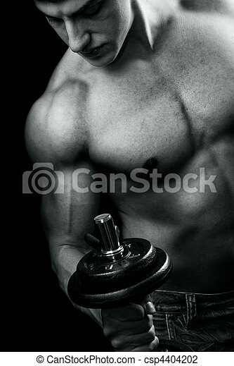 Bodybuilding - muscular man and dumbbell workout - csp4404202