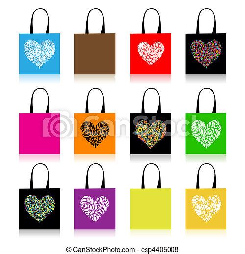 Shopping bags design, floral heart shape - csp4405008