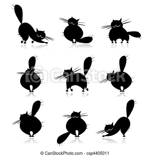 Funny black fat cats silhouettes for your design - csp4405011