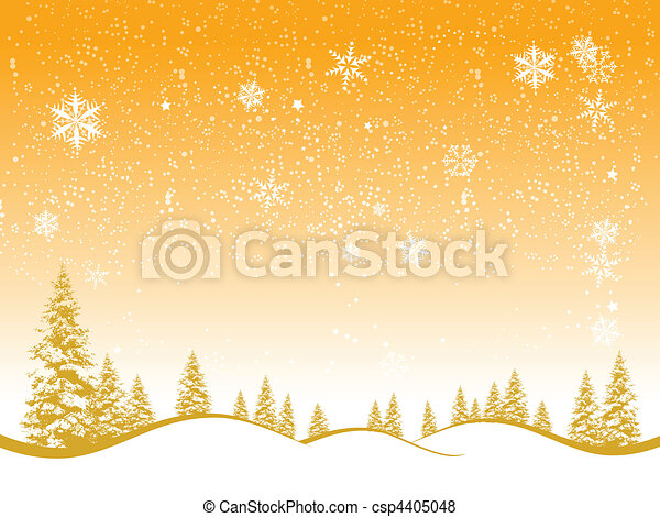 Winter forest, christmas background for your design - csp4405048