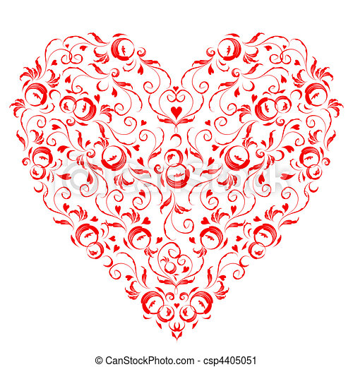 Heart shape, floral ornament for your design  - csp4405051