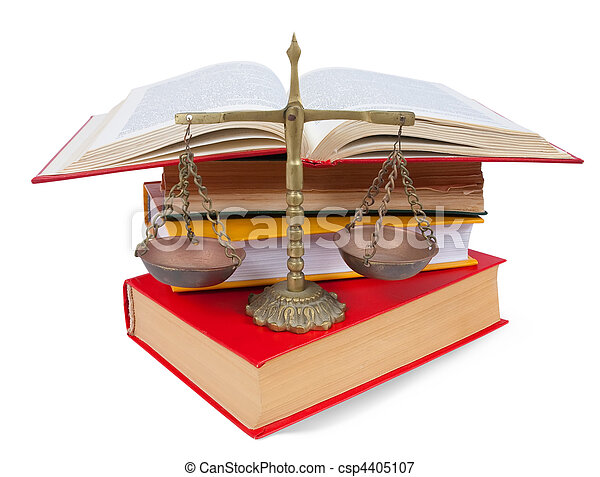 Scales of justice atop legal books over white - csp4405107
