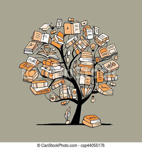 illustrazioni vettoriali di albero  schizzo  libri clip art of book tasting clipart of bookshelves