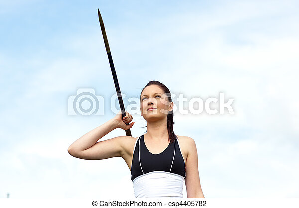 Female athlete throwing the javelin - csp4405782