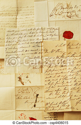 Old letters, elegant handwriting - csp4406015