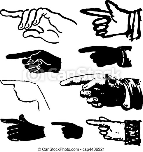 Collection of hand pointing - csp4406321