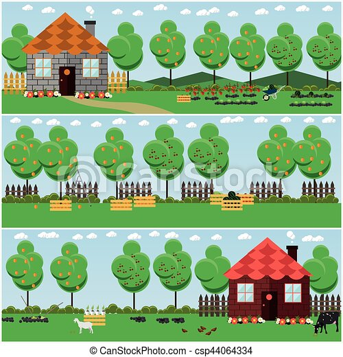 Vectors of Vector set of countryside concept backgrounds with