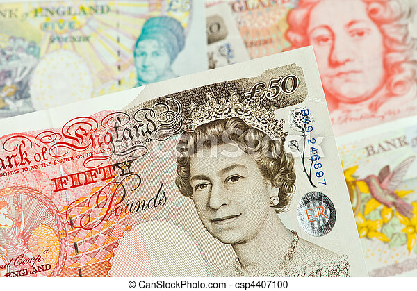 British pound notes. British pounds. Banknotes of the British currency. - csp4407100