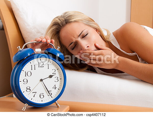 Sleepless with Clock in the night. Wife could not sleep. - csp4407112