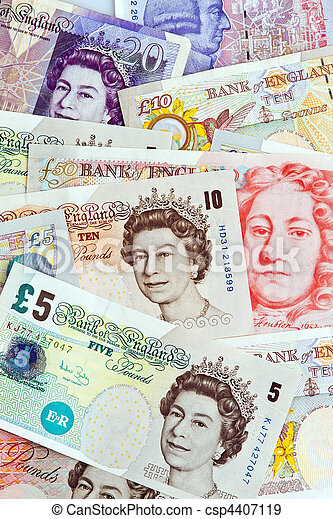 British pound notes. British pounds. Banknotes of the British currency. - csp4407119