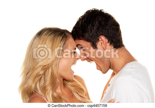 Couple has fun and joy. Love, eroticism and tenderness in everyday life. - csp4407159