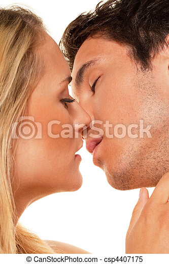 Couple has fun and joy. Love, eroticism and tenderness in everyday life. - csp4407175
