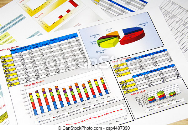 Sales Report in Statistics, Graphs and Charts - csp4407330