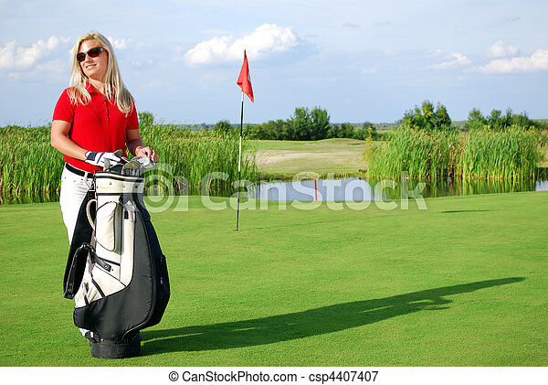 girl with golf bag on golf course - csp4407407