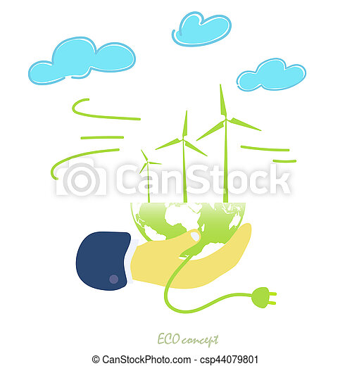 the natural energy of the wind. The global concept of clean energy.