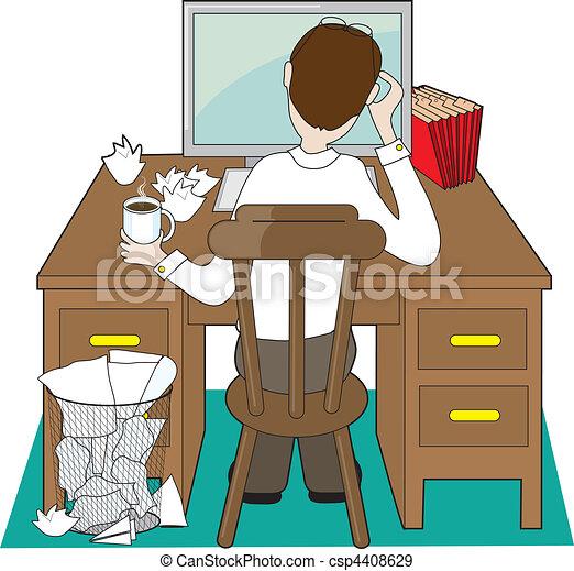 vecteurs eps de homme bureau back vue de a homme a bureau csp4408629. Black Bedroom Furniture Sets. Home Design Ideas