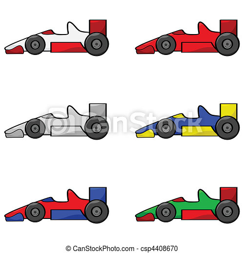 Clip Art Vector Of Racing Cars Black Outline Illustrations