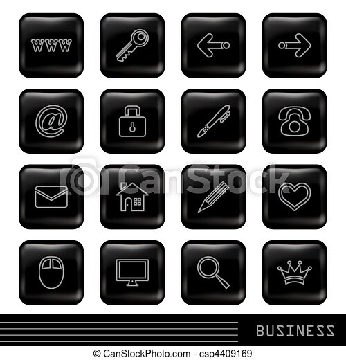 Glossy Black Icons Set - csp4409169