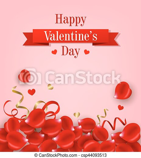 Card with red rose petals - csp44093513