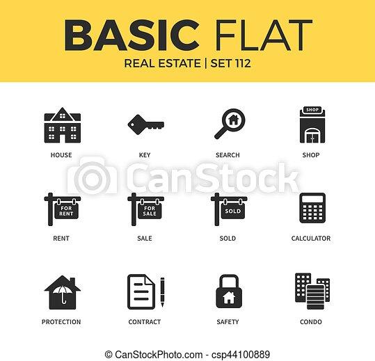 Basic set of Real estate icons - csp44100889