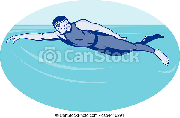 Triathlon athlete swimming freestyle  - csp4410291