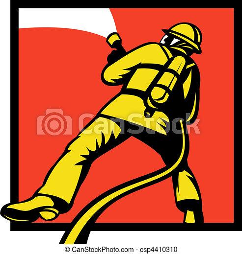 Firefighter or fireman aiming a fire  - csp4410310